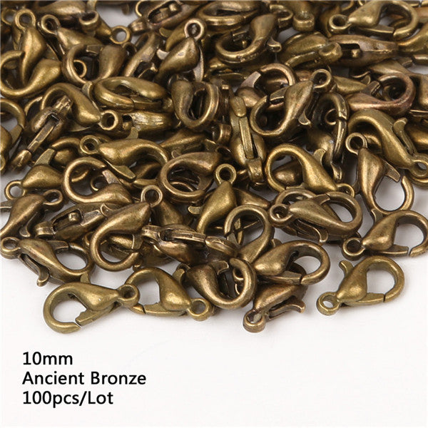 12mm 100pcs Lobster Clasps Hooks Jewelry Findings Bronze/Gold/Gunblack/Rhodium/Silver For Jewelry Making Necklace Bracelet DIY