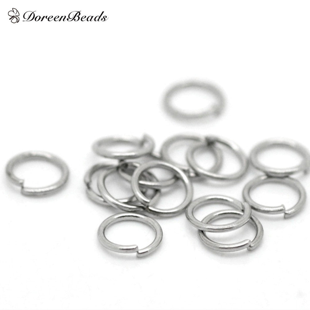 "DoreenBeads Hot Sale Stainless Steel Opened Jump Rings Jewelry Findings Round Silver Tone 5mm( 2/8"") Dia, Hole: 3.8mm 75 PCs/Lot"