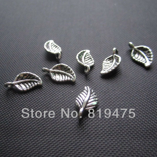 Free shipping (20 pieces /lot) small leaf  anti-silver color zinc alloy  connecters  jewelry findings for jewelry making  P4