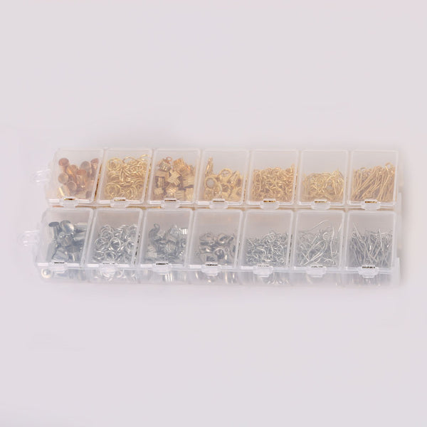 300pcs/set, Mixed Style Kit Gold/Rhodium Accessories (Jump Ring,End Caps,Clasp,Chain,Hook, Pin)for Jewelry Making