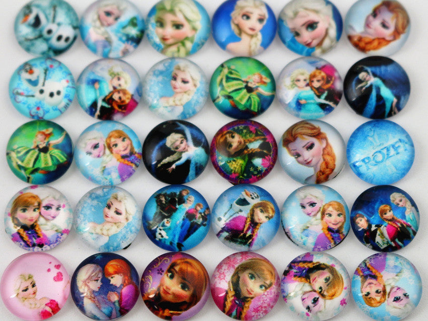Hot Sale 50pcs 12mm  Mixed Handmade Photo Glass Cabochons  (D5-02)