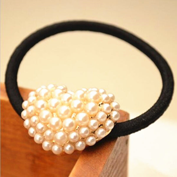 Charms Elastic Pearl Heart Hair rope gold hair rubber band 8CJWD26