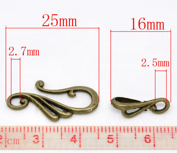 DoreenBeads  Jewelry Findings Zinc Alloy Toggle Clasps Musical note Antique Bronze 25mmx13mm 16mmx5.5mm, Hole:2.7mm 2.5mm 7 Sets
