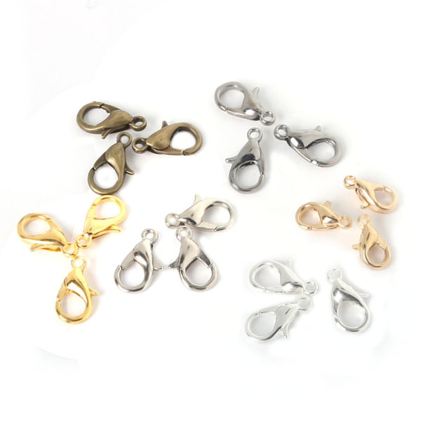 12mm 100pcs Zinc Alloy Lobster Clasps Hooks Chains Jewelry Findings For Jewelry Making Necklaces Bracelets DIY Accessories