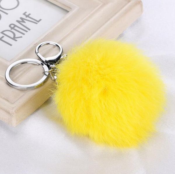 14Colors 8CM 100% real Rabbit Fur Ball Car Keychain New Year Gift Silver Plated Key Chain Women Gifts Couples Keychain Men