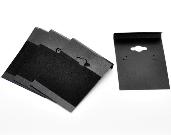 "DoreenBeads Black Ear Hooks Earring Plastic Display Cards 6.2x4.5cm(2-1/2""x1-3/4""), 50PCs (B16649), yiwu"