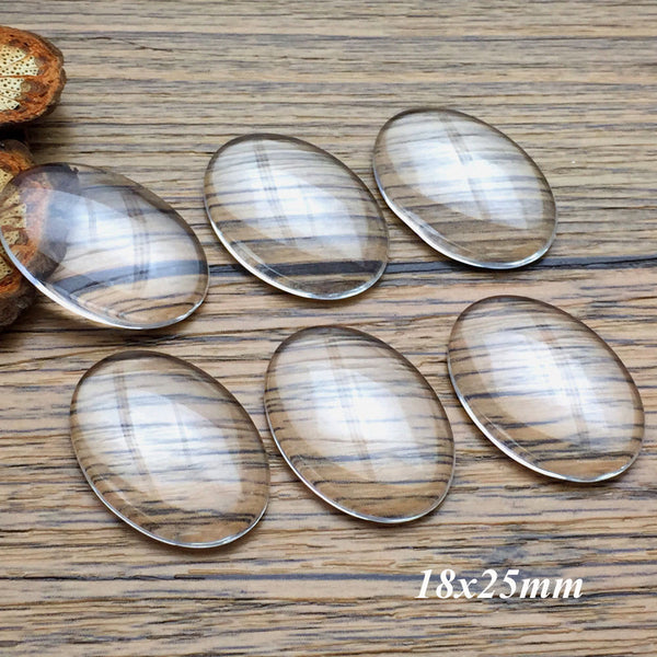 15pcs/lot 18x25mm Handmade Transparent Clear Glass Cabochon Domed Oval Jewelry Accessories Supplies for jewelry