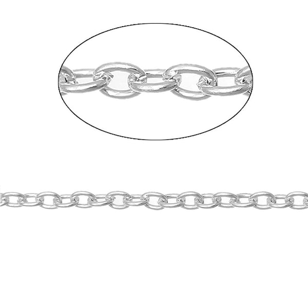 Doreen Box Lovely 10M Silver Plated Cable Chains Findings 3x2mm (B04020)