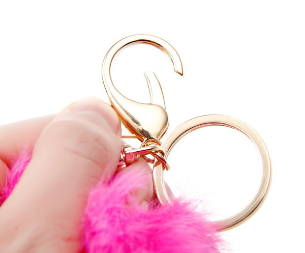 14Colors 8CM Genuine Rabbit Fur Ball Keychain Valentine's Day Gift Gold Plated Keyrings Keychain For Keys For Lovers
