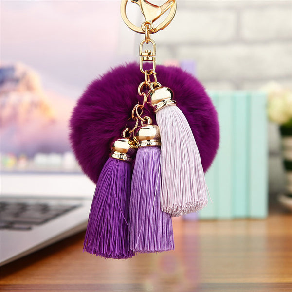 Hot sale Tassel Pompom Car Key Ring Pendant Fur Ball Keychain Rabbit  Fur Plush Fur Key Chian POM POM Keychain EH-404