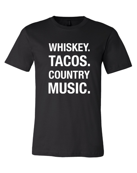 Black Whiskey Tacos Country Music Tee