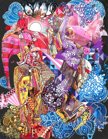 "Elephants On Parade - Collage & Paint Pen, 11"" x 14"" - 2013 - Prints Available"