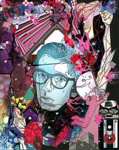 "Ode To Elvis Costello - collage & paint pen, 11"" x 14"" - 2012 - Prints Available"
