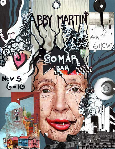 "Somar Show - Collage & Paint Pen, 11"" x 14"" - 2010 - SOLD - Prints Available"