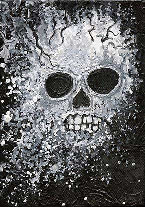 "Skull Exploding - Acrylic, 5""x7"" - SOLD - Prints Available"