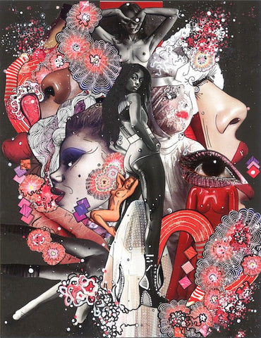 "Erotica - Collage & Paint Pen, 11"" x 14"" 2013 - SOLD - Prints Available"