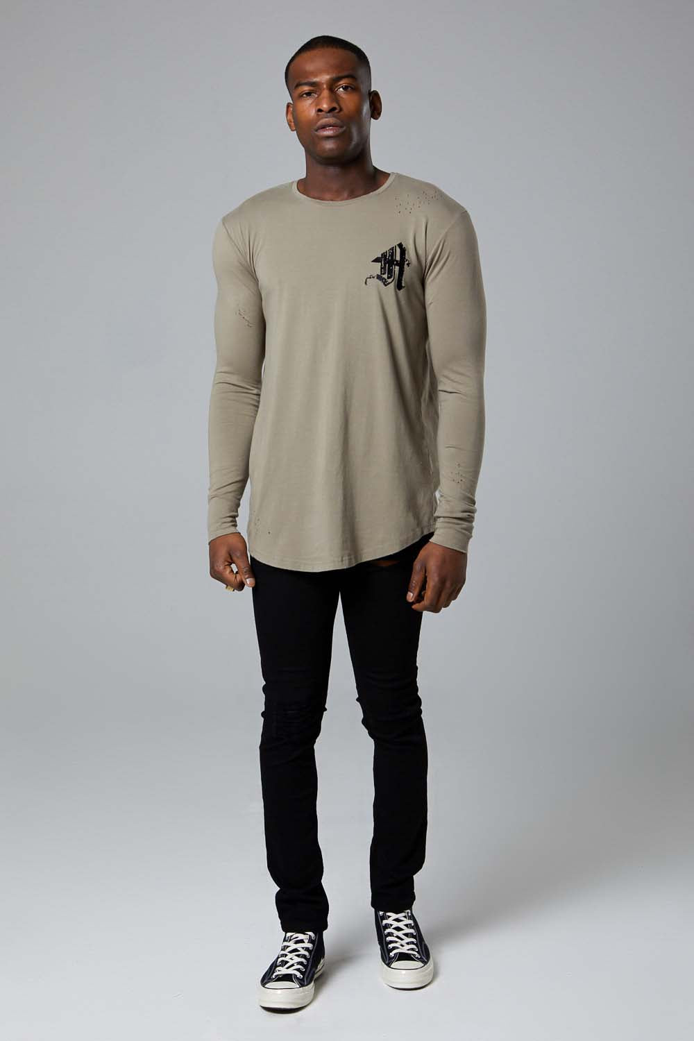 Ashes Varsity L/S tee-Khaki Green