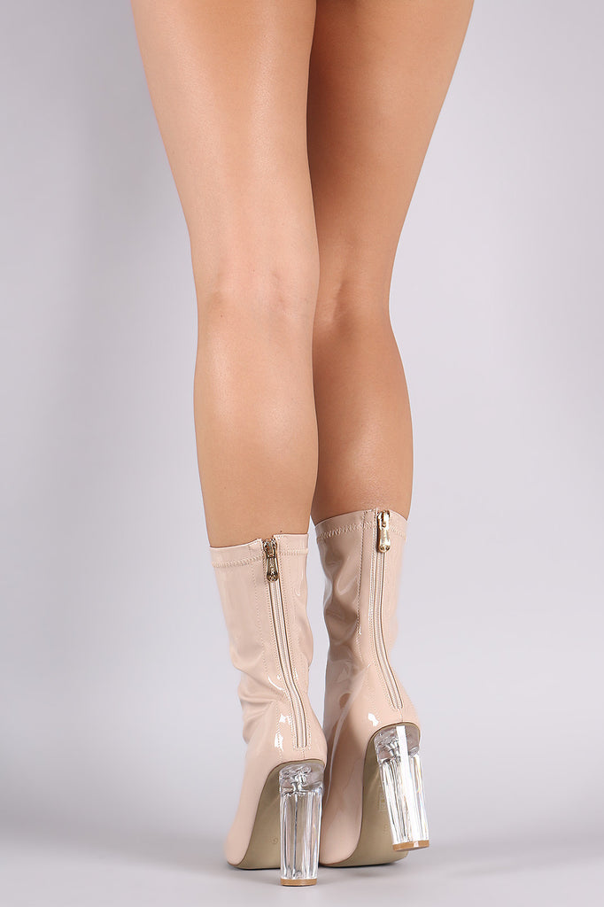 7101a380227 Patent Pointy Toe Lucite Heel Boots – harlowfashion