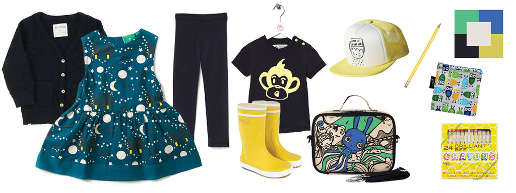 Back to school inspiration, navy and yellow