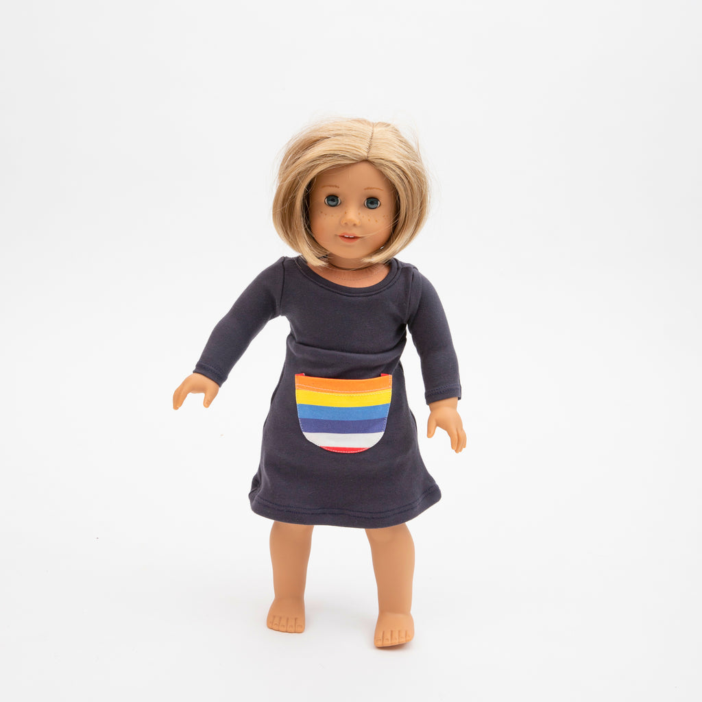The Long sleeve Rainbow Doll Dress (American Girl or Maplelea Girl)