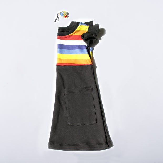 organic cotton, rainbow dress, black