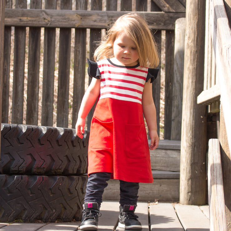 The Red Stripe Pinafore Pocket Dress