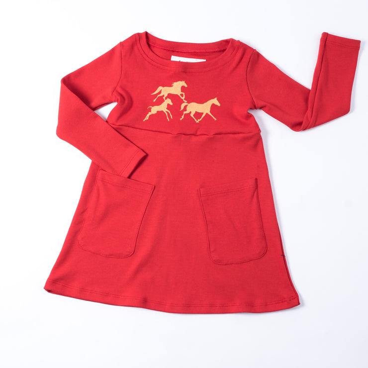 The Red Wild Horse Long Sleeve Dress