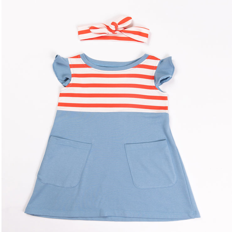 The Blue and Orange Striped Pinafore Pocket Dress