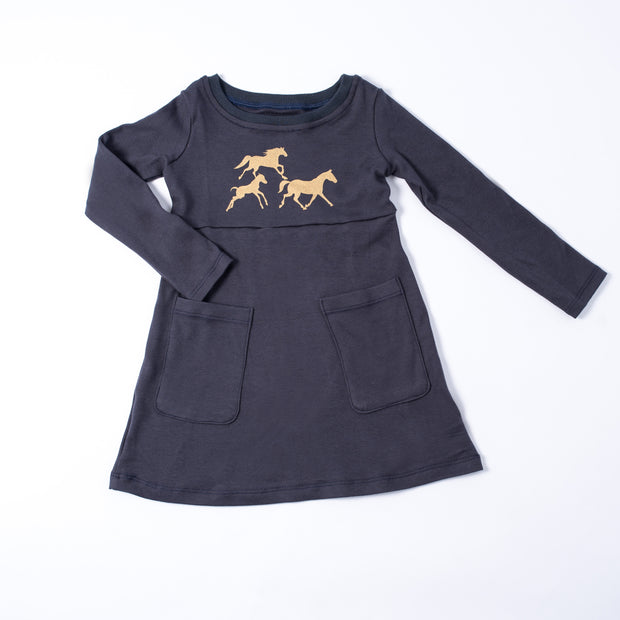The Navy Wild Horse Long Sleeve Dress