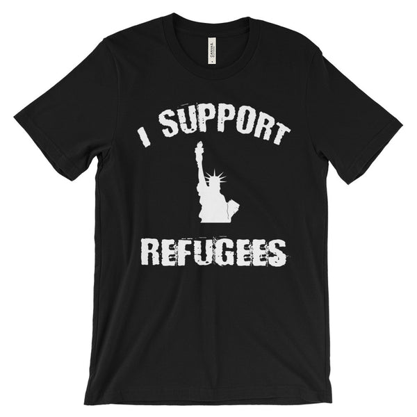 I Support Refugees Statue of Liberty Refugees Welcome Political Activism Unisex Short Sleeve T-Shirt - EverFresh Designs