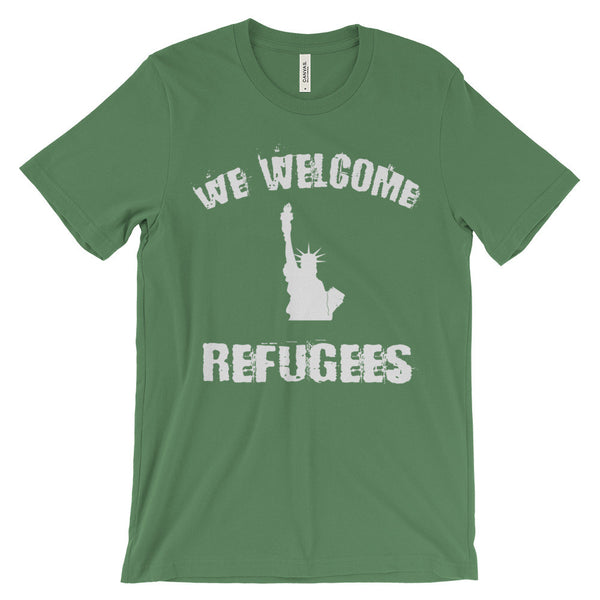 We Welcome Refugees Statue of Liberty Political Activism Unisex Short Sleeve T-Shirt - EverFresh Designs