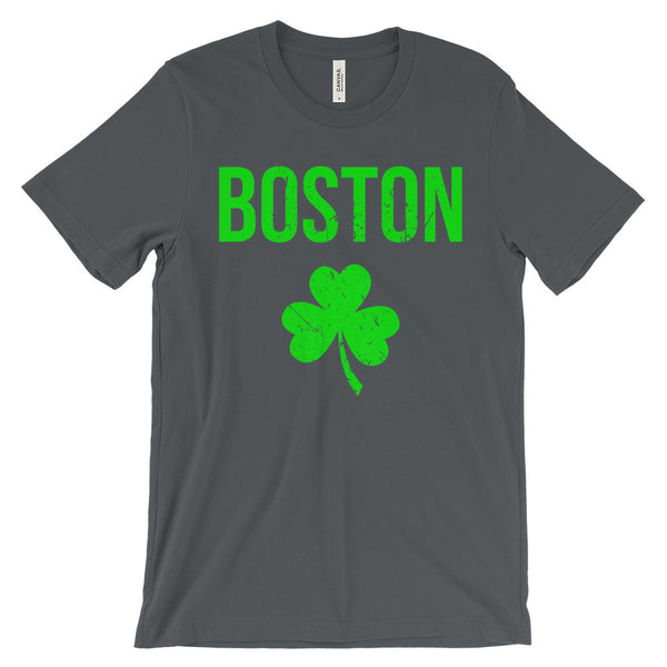 Boston Shamrock Shirt Irish St Patricks Day Distressed Unisex Short Sleeve T-Shirt - EverFresh Designs