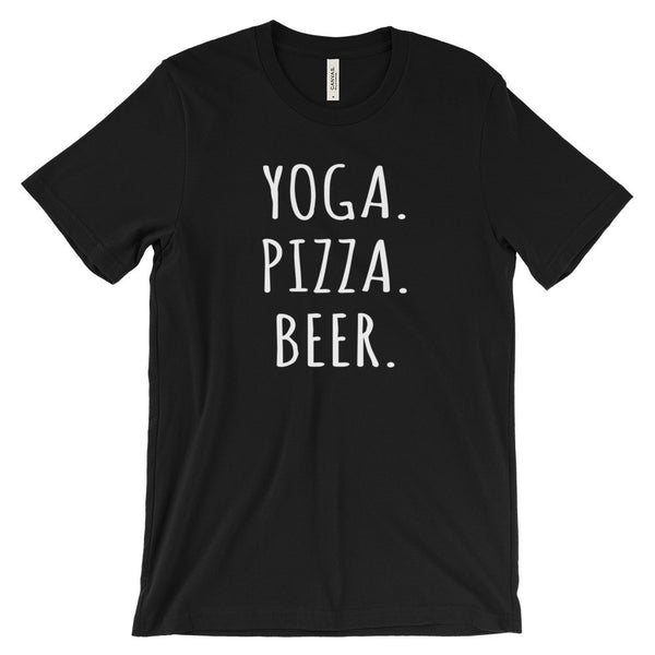 Yoga Pizza Beer T Shirt Funny Fitness Drinking Tee Unisex Short Sleeve T-Shirt - EverFresh Designs