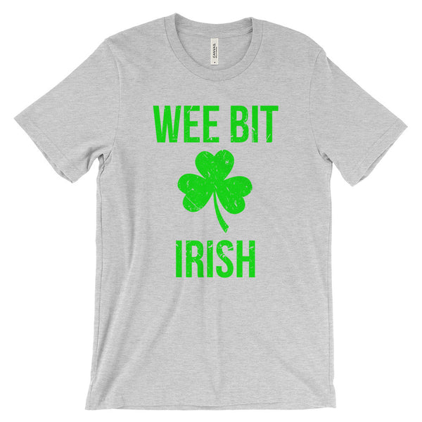 Wee Bit Irish Shamrock St Patricks Day Distressed Unisex Short Sleeve T-Shirt - EverFresh Designs