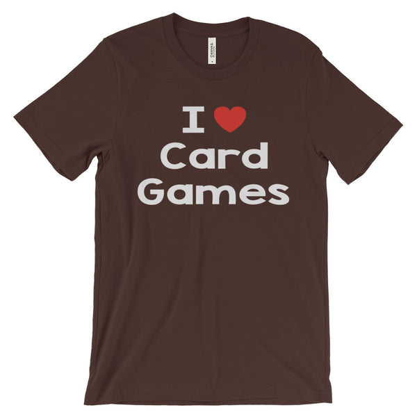 I Love Card Games Playing Cards Poker Solitaire Bridge Unisex Short Sleeve T-Shirt - EverFresh Designs