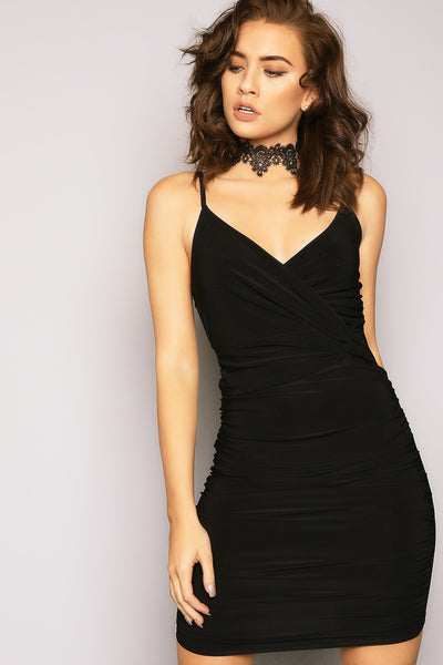 Bella London 'TAMAR' black twist ruched dress