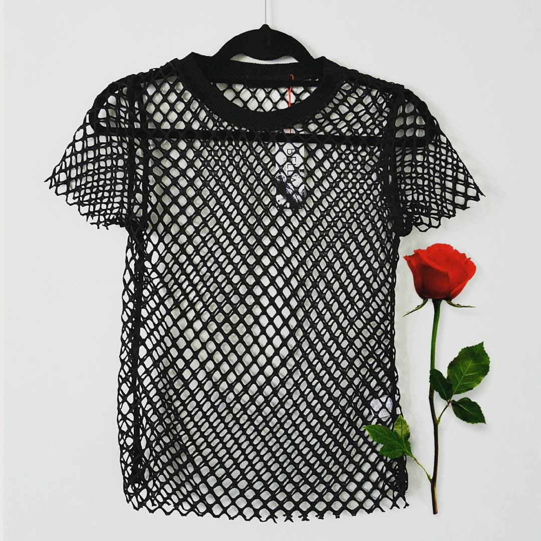 Bella London 'ANDRE' BLACK NET T-SHIRT