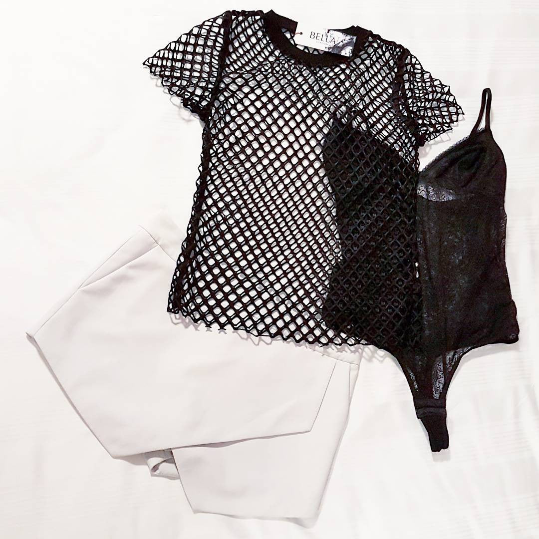 Bella London monochrome blog post, black sheer net top