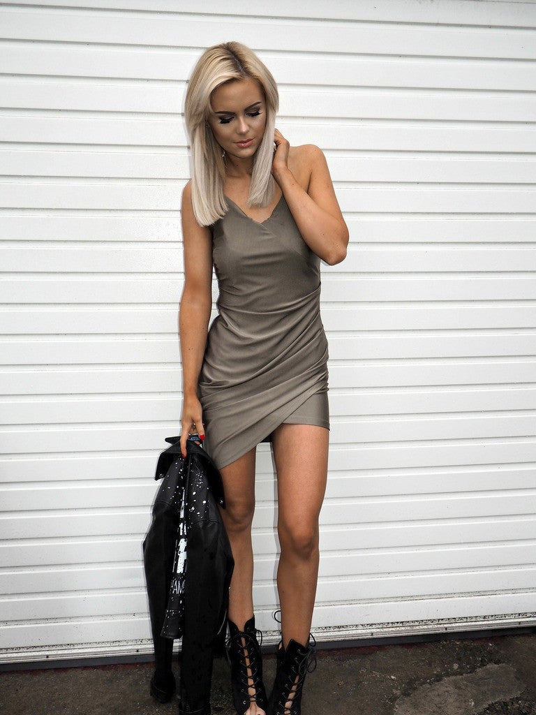 Bella London, Layla silky jersey dress khaki