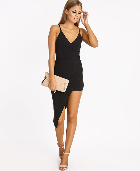 Bella London Black asymmetric ruched wrap dress with plunge neckline and spaghetti straps. Full length front photo