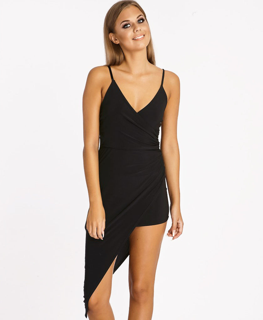 Bella London Black asymmetric ruched wrap dress with plunge neckline and spaghetti straps. Close up front photo