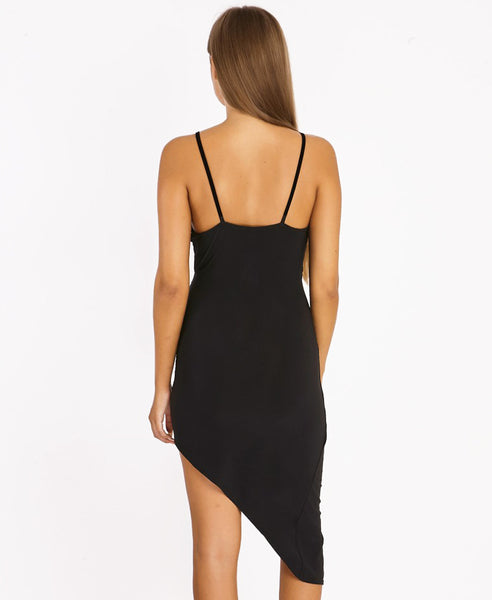 Bella London Black asymmetric ruched wrap dress with plunge neckline and spaghetti straps. Close up back photo