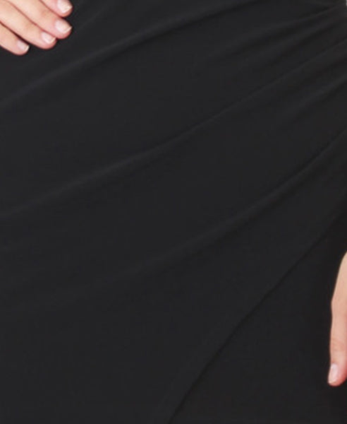 Bella London Black asymmetric ruched wrap dress. Close up fabric photo