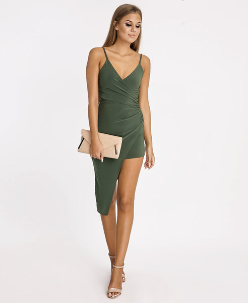 Bella London Khaki asymmetric ruched wrap dress with plunge neckline and spaghetti straps. Full length front view