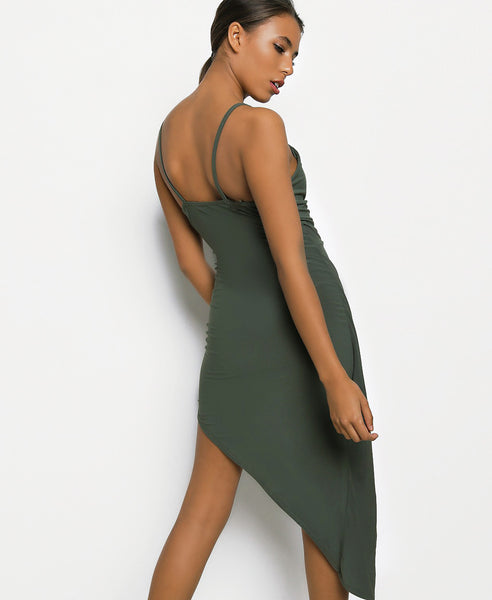 Bella London Khaki asymmetric ruched wrap dress with plunge neckline and spaghetti straps. Close up back view