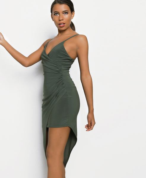 Bella London Khaki asymmetric ruched wrap dress with plunge neckline and spaghetti straps. Close up side front view