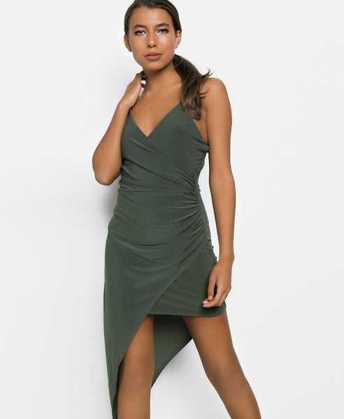 Bella London Khaki asymmetric ruched wrap dress with plunge neckline and spaghetti straps. Close up front view