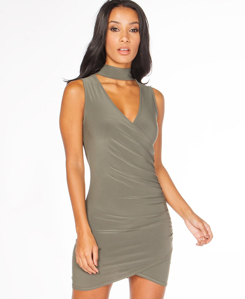 Bella London Sleeveless khaki choker jersey dress with V-neck and cross-over draped front. Close up front photo.