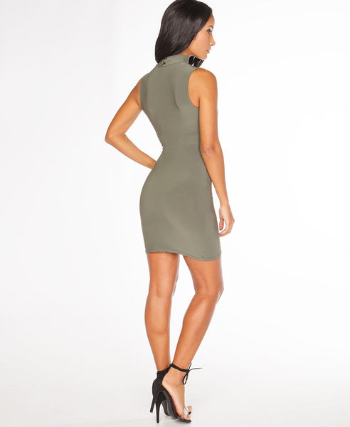 Bella London Sleeveless khaki choker jersey dress with V-neck and cross-over draped front. Full length back photo.