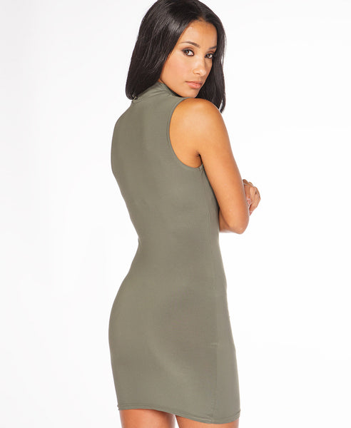 Bella London Sleeveless khaki choker jersey dress with V-neck and cross-over draped front. Close up back photo.